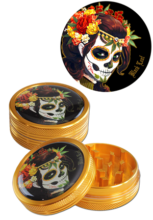 Grinder Black Leaf Mexican Skull