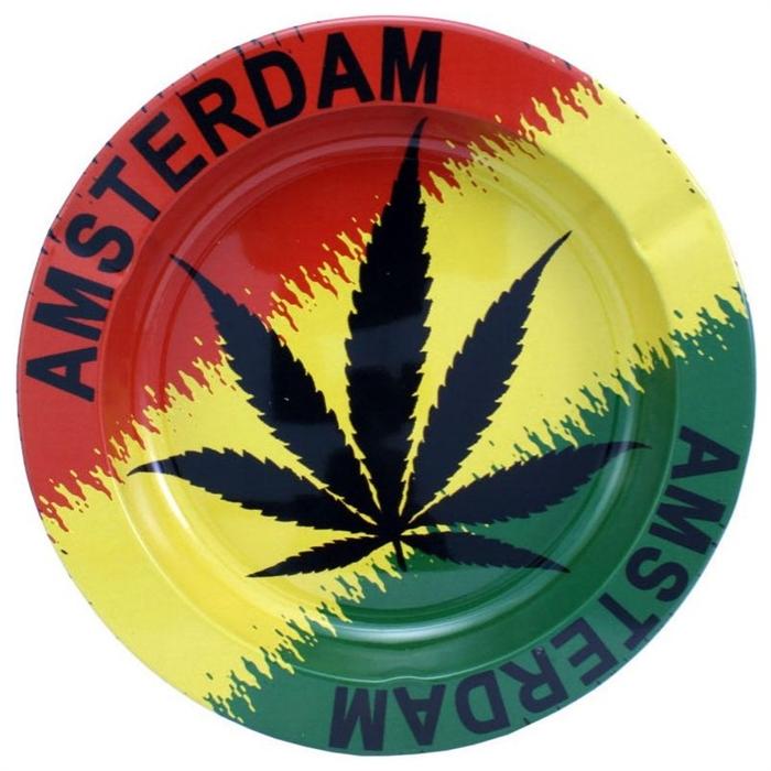 Metal ashtray Rasta Leaf
