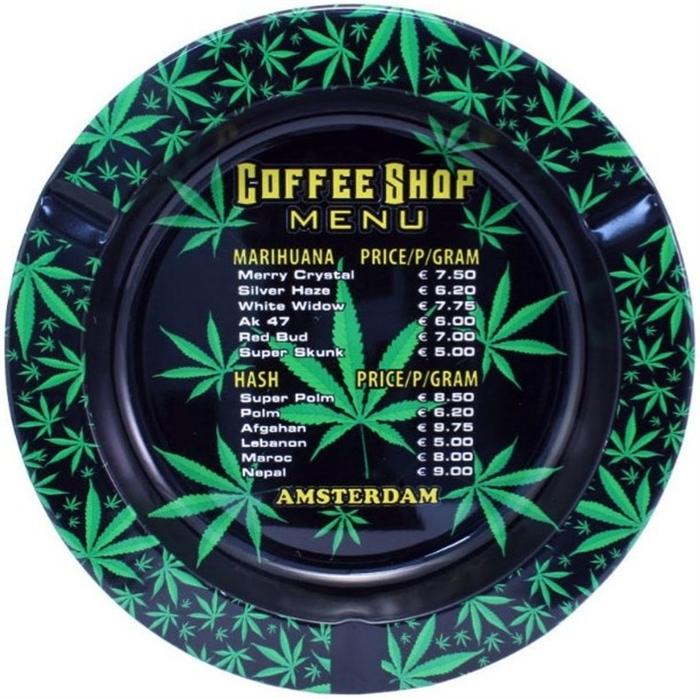 Metal ashtray Coffeeshop Menu