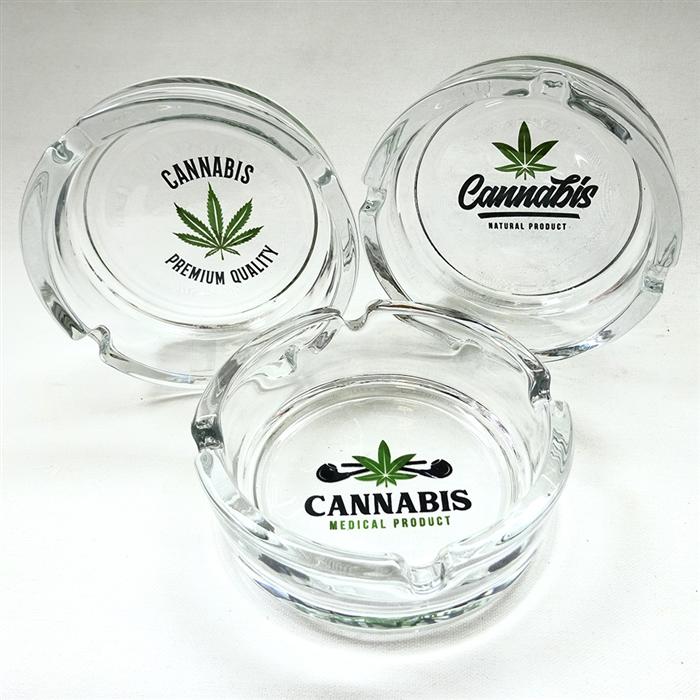 Glass-Ashtray round Cannabis
