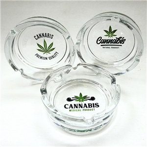Posacenere rotondo in vetro Cannabis